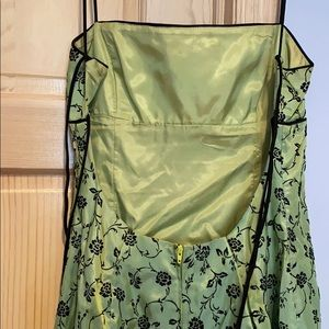 Macy's Dresses - Green w/black floral design junior's evening gown